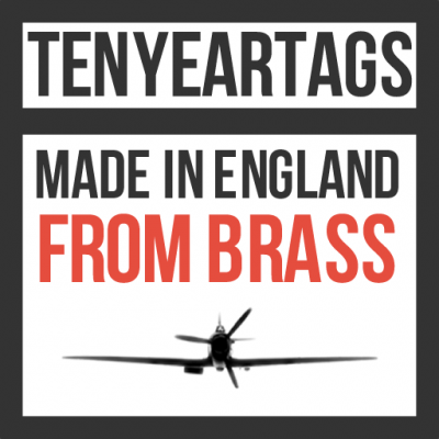 Ten Year Tags Made in England From Brass